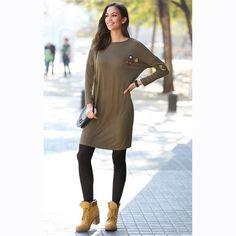 7456e84b94 Robe courte manches longues patchs femme Exclusivité 3SUISSES Robe Chemise,  T Shirt, Robe Snob