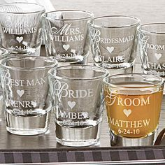 everyone needs a shot before walking down the aisle - personal shot glasses for each member of the wedding party. Cute idea!