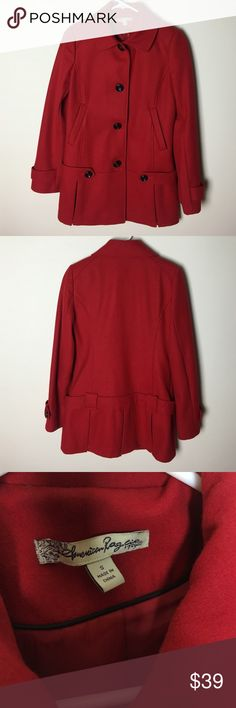 """American Rag Drop Waist Wool Coat American Rag Drop Waist Wool Coat Color: Red Size: small Bust: 17.5""""  Perfect for the fall. Jacket comes to about he knee. Perfect condition! American Rag Jackets & Coats Pea Coats"""