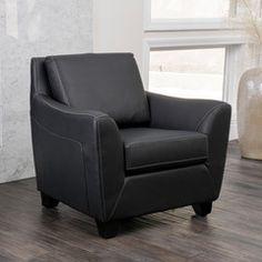 Barker Black Leather Club Chair
