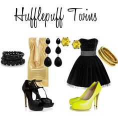 Hufflepuff Twins, created by nearlysamantha on Polyvore