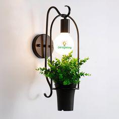 Iron retro art  Green plant led wall lamp creative simple sconce led wall light coffee / shop /Bar plant maquiagemWall lights