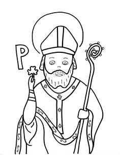 St Patrick colouring page MANY others for the day on