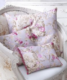 The French Bedroom Company French Toile Blue and Pink Cushions. Head over to our blog for ideas on getting the look and more on the Pantone Colour of the Year 2016 Rose Quartz & Serenity blue in your home. Interior design blue and pink. French Country style