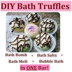 How to Make DIY Bath Truffles = Bath Bombs + Bath Salts + Bath Melts + Bubble Bath in ONE Bar! Homemade Cheap and Easy Gift Idea