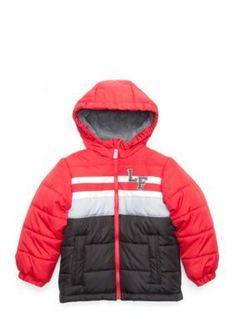 London Fog Striped Puffer Jacket Boys 4 7