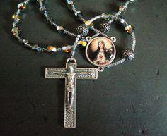 ave maria in marea vitrail rosary prayer beads by kriswinningham, $46.30