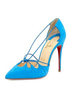 Riri Knotted Red Sole Pump, Blue by Christian Louboutin at Neiman Marcus.