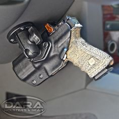 Mountable Car Holster for all Vehicles. Made from Kydex, this Holster is securely fastened to the Mounting System Car Holster, Kydex Holster, Accessoires 4x4, Glock Mods, Gun Storage, Weapon Storage, Vehicle Storage, Guns And Ammo, Concealed Carry