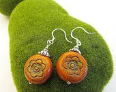 Flower Dangle Earrings Aged Ochre Disc Shape with Tibetan Bead Caps