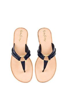 Lilly Pulitzer McKim Leather Sandal in True Navy