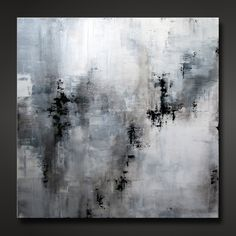 """Abstract painting, contemporary, modern design, neutral gray, white, black. """"Shadow"""""""