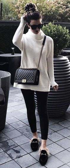 incredible fall outfit idea : sweater + bag + skinnies + loafers