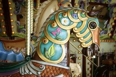 Horse head from the Riverfront Carousel in Salem, Oregon. Kids riding the carousel can reach out and try to grab a ring hanging on a pole. If they catch the ring, they get a free ride. Carosel Horse, Covered Wagon, Wooden Horse, Spiritus, Painted Pony, Merry Go Round, Kids Ride On, Horse Art, Horse Head