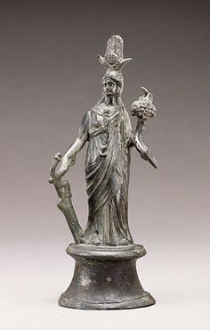 """Roman,100 AD  """"The Egyptian goddess Isis was adopted into Roman religion in the first century A.D. Isis was an ancient goddess with a wide range of powers, including the ability to offer her followers a better afterlife. In Roman religion, Isis was often merged with other Roman goddesses, creating new composite deities. This statuette portrays Isis combined with Fortuna, a fertility goddess who controlled the fate of both individuals and cities."""