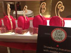 Strawberry macaroon with mojito ganache