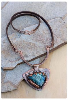 Labradorite Necklace: Rustic Necklace - Hand Forged Copper Jewelry - Blue Labradorite jewelry - Protection Necklace - Statement necklace