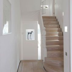 modern and traditional staircase Dinesen Wood Staircase Wood Staircase, Wooden Stairs, Staircase Design, Staircase Remodel, Black And White Hallway, Hallway Pictures, Stairs To Heaven, Flur Design, Traditional Staircase