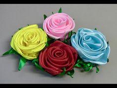 Kanzashi ribbon flower tutorial, DIY kanzashi flower - YouTube