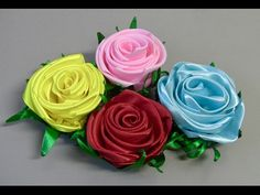 Rosa de fitasde cetim - How to make satin ribbon roses - YouTube
