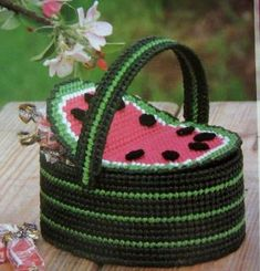 Crib Beaded Basket, Annies plastic canvas pattern in Crafts, Needlecrafts & Yarn, Needlepoint & Plastic Canvas Plastic Canvas Books, Plastic Canvas Crafts, Plastic Canvas Patterns, Watermelon Basket, Basket Bag, Goodie Basket, Weaving Projects, Canvas Designs, Leather Bags Handmade