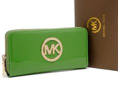 New Michael Kors Wallet Patent Green MK Signature Gold Hardware