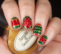 Wondrously Polished: The Digital Dozen does Red, Green & Gold - Day 1: Sweater Print...again