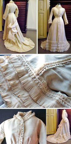 Wedding dress, Finnish, 1879. Ivory silk/wool. One piece. Helsinki Univ. Museum via Tekstiilihistoria