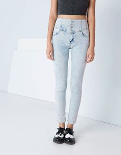 Bershka high waist button detail jeans, really want this !