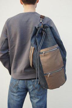 Denim sailor bag/ durable fabric. Summer bag for men.Sports bag.Gym bag. Men's style Drawstring sailor bag by KraftyCuts on Etsy