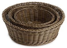 Neoflam PLASKET 3-piece Hand-woven Round Basket, Synthetic Fiber, Brown