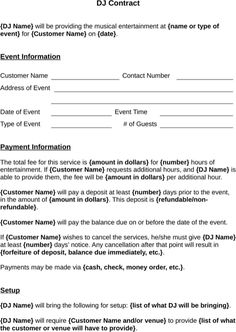 Dj Contract Wedding Preparation Event Planning Day Sample Resume Templates