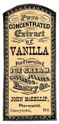 Vintage Clip Art - Apothecary Label - Vanilla Extract - The Graphics Fairy (also in black & white)