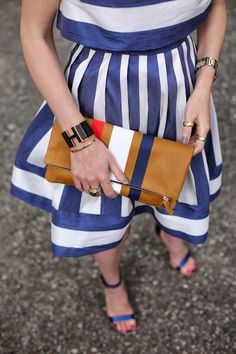 Blue and white striped dress fashion jewelry gold stripes heels classy college dressy outfit sandals preppy nautical