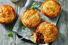 This Moroccan Lamb Pies Australias Best Recipes is a better for your dessert made with awesome ingredients! Slow Cooked Moroccan Lamb, Steak And Mushroom Pie, Vegetable Pie, Pinwheel Recipes, Ras El Hanout, Pastry Shells, Tray Bakes, Finger Foods, Kitchens