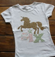 Girl Birthday Shirt Unicorn For Girls Horse Mint Pink Gold Glitter Silver And Purple
