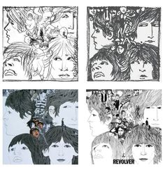Klaus Voormann: preliminary sketches and final version of Revolver album cover.