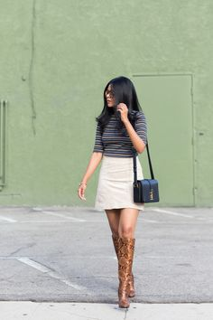 Top: Zara / Skirt: Mango / Shoes:Aldo/ Bag:YSL