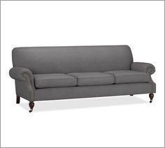 Brooklyn Sofa | Pottery Barn - metal gray everyday suede.