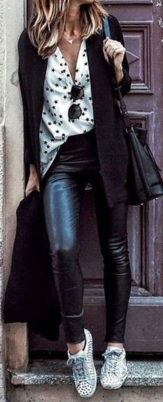 fall outfit ideas / star polka dot + leather pants