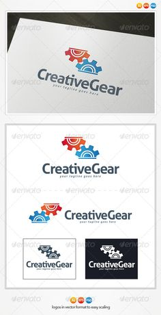 Creative Gear Logo  #GraphicRiver         Creative Gear Logo Template  This is a great logo template for tech, tech, creative company.  – Vector 100% – Editable and Resizable  – CMYK – Print and Web Ready | 300 DPI – Easy to editable color and text  	 Pack included:   Ai. File – EPS10. File – PSD. File  CMYK | Print Ready  100% vector | 300 DPI  3 Versions: color, white and black  Easy to edit color and text  	 Font Used:   Font: Aller  	 Please rate, if you like it ! Thank you…