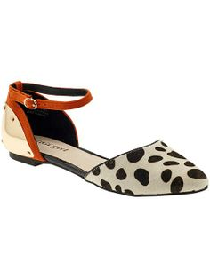 Orange Black White Flats