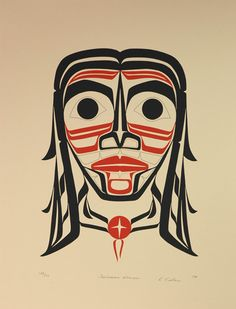 Tsimshian Woman (1974) by Roy Henry Vickers, Tsimshian artist. Northwest Coast #Art