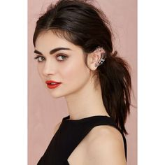 Hayden Crystal Ear Cuff (120 ZAR) ❤ liked on Polyvore featuring jewelry, earrings, hair, models, faces, hairstyles, beauty, guetl, ear cuff jewelry and crystal stone jewelry