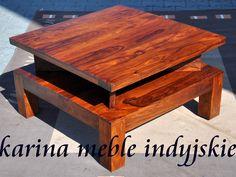 """stolik """"Narika""""  wykonany ręcznie z palisandru indyjskiego. Prosta bryła, masywne nogi, blat i półka sprawiają ze stolik bardzo dobrze współgra z nowoczesnymi meblami, #meblekoloialne http://karinameble.pl/"""