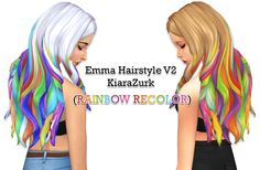 "musilizzy: "" Emma Hairstyle (RAINBOW RECOLOR) Sooo I thought today ""let's make a rainbow recolor! I wanted to do every EA standard color but eventually only dirty blonde and white. Sims 4 Mods, Sims 3, Play Sims 4, Sims 4 Mm Cc, Sims 4 Game, Maxis, The Sims 4 Packs, The Sims 4 Cabelos, Rainbow Hair"