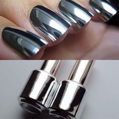 talk about eye catching nails Mirror Nail Polish, Mirror Nails, Nail Art, Silver Makeup, Stylish Nails, Nail Trends, Beauty Nails, Pretty Nails, Silver Rings