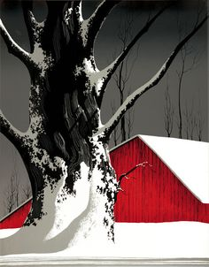 Black, white with red barn. Eyvind Earle American Artist and Illustrator. Vegetal Concept, Flowers Wallpaper, Eyvind Earle, Illustration Art, Illustrations, Art Watercolor, Wow Art, Fine Art, Grafik Design