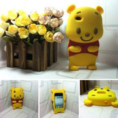 New 3D Winnie the Pooh Silicone Soft Cover Back Case for iPhone 4 4S+Free Gifts
