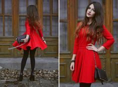 Red dress with black accessories